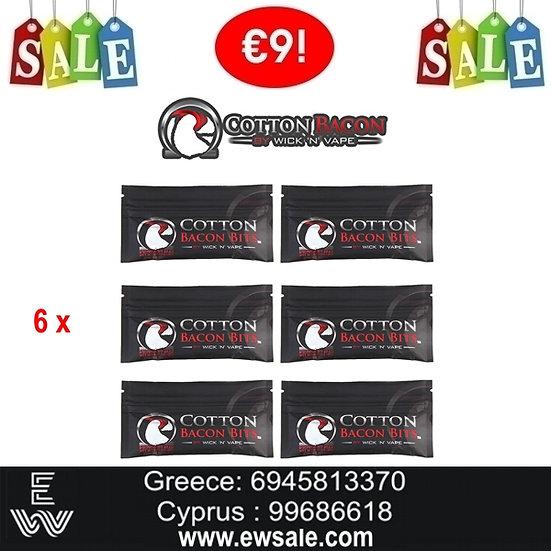 6 x  COTTON BACON BITS V2 Ανταλλακτικό βαμβάκι αντίστασης ηλεκτρονικού τσιγάρου
