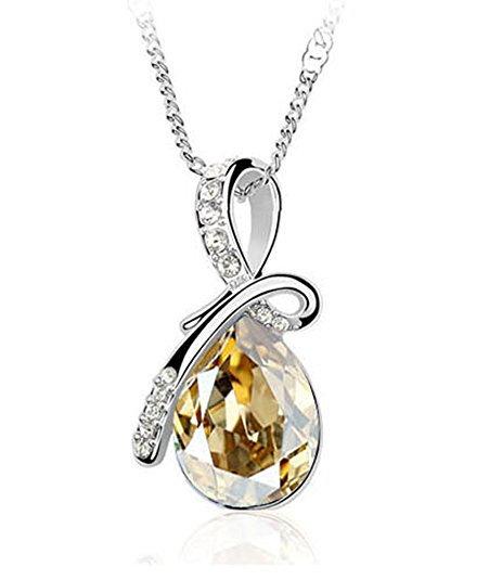 Swarovski Crystal Water Drop Shaped Pendant Necklace