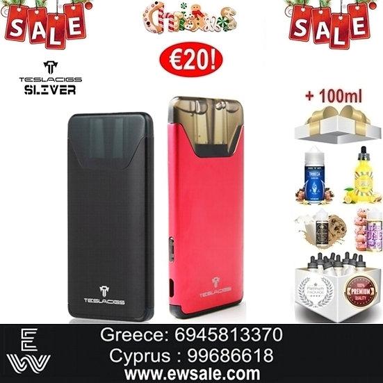 Tesla Sliver Ηλεκτρονικό Τσιγάρο + 100 ml Δημοφιλή Υγρά Αναπλήρωσ