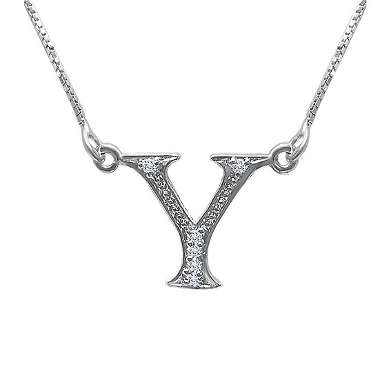 Sterling Silver Cubic Zirconia Y Pendant Necklace