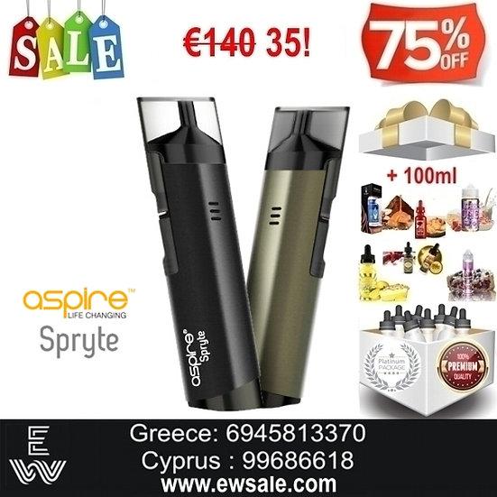 Aspire Spryte AIO Ηλεκτρονικό Τσιγάρο + 100ml Υγρά άτμισης
