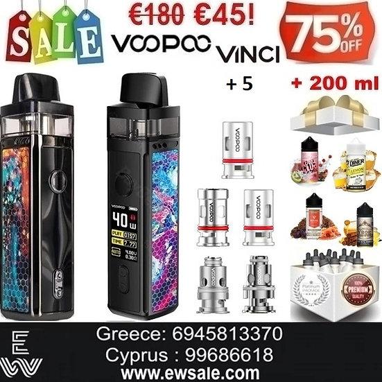 Voopoo Vinci 40W Kit Ηλεκτρονικά Τσιγάρα + 5 αντιστάσεις +200ml  Υγρά άτμισης