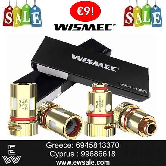 3 x Ανταλλακτικές κεφαλές (αντιστάσεις) Wismec WV για το Wismec R40 & R80