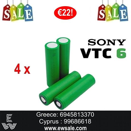 4 x Sony US 18650 VTC6 ΜΠΑΤΑΡΙΕΣ ΓΙΑ MODS