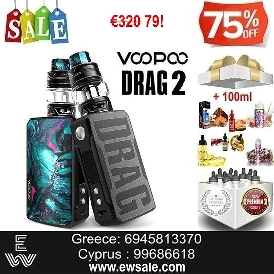 Voopoo Drag 2 177W TC Kit ηλεκτρονικού τσιγάρου + 100ml Υγρά άτμισης