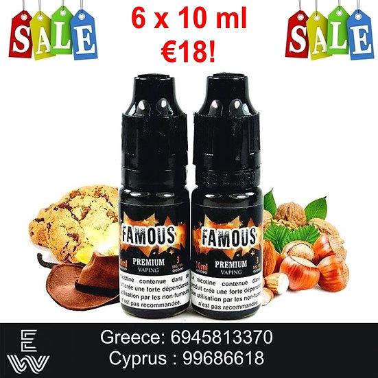 60 ml (6x10ml) Famous Eliquid France Υγρά αναπλήρωσης