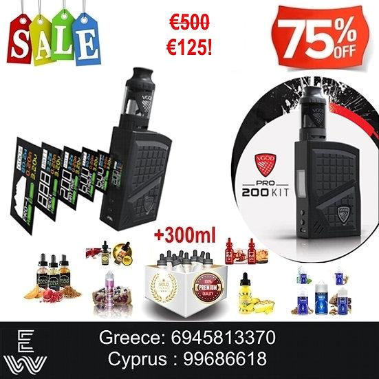 VGod Kit Pro 200 Ηλεκτρονικά Τσιγάρα + 300 ml Δημοφιλή Υγρά ά