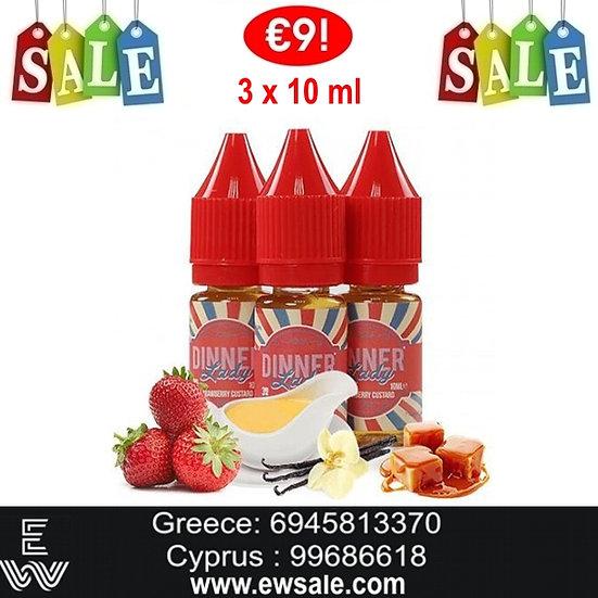 30 (3x10) ml Dinner Lady Strawberry Custard Υγρά Αναπλήρωσης, άτμισης