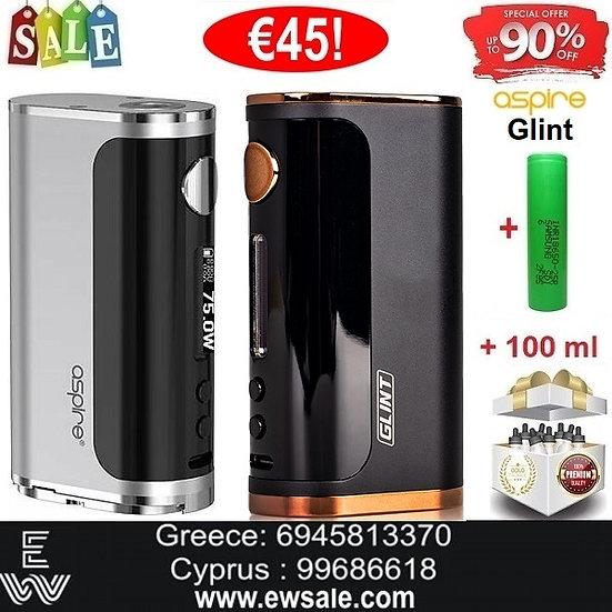 Aspire Glint Modηλεκτρονικού τσιγάρου +18650 + 100ml Υγρά άτμισης