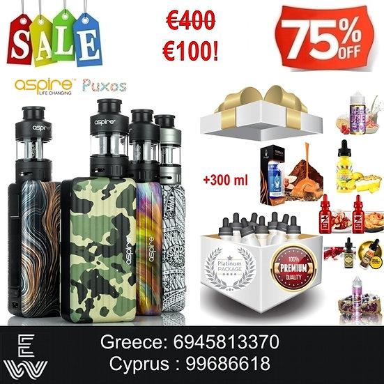 Aspire Puxos Kit Ηλεκτρονικά Τσιγάρα + 300 ml Κορυφαία Υγρά άτμισης