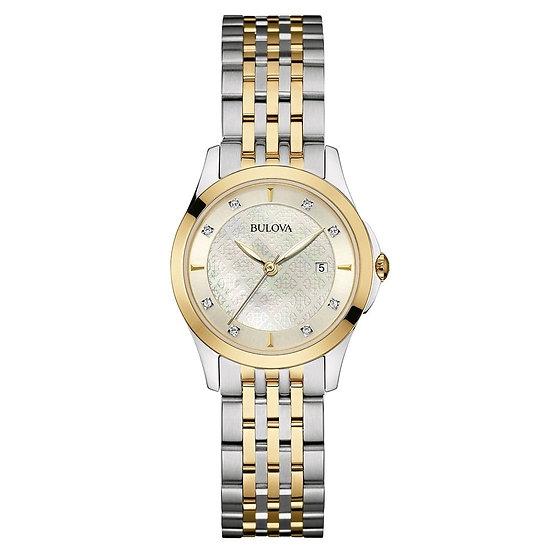 Bulova Mother Of Pearl Ladies Diamond with Steel/Gold Bracelet Watch