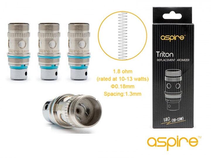 5 x Aspire Triton 1,8 ohm Coils - Ανταλλακτικές κεφαλές αντιστάσεις