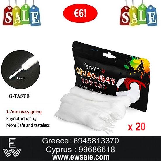 20 x G-Taste Preloaded Organic Cotton Ανταλλακτικό βαμβάκι ηλεκτρονικού τσιγάρου
