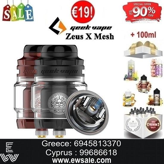 GeekVape Zeus X Mesh RTA Ατμοποιητής + 100ml Υγρά άτμισης