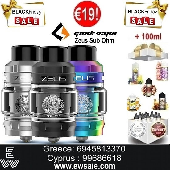GeekVape Zeus Sub Ohm Ατμοποιητής (open box) + 100ml Υγρά άτμισης