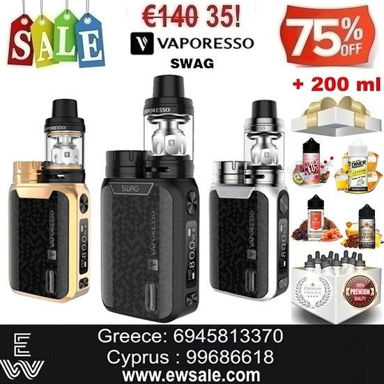 Vaporesso Swag Kit Ηλεκτρονικό Τσιγάρο + 200 ml Υγρά Αναπλήρωσης