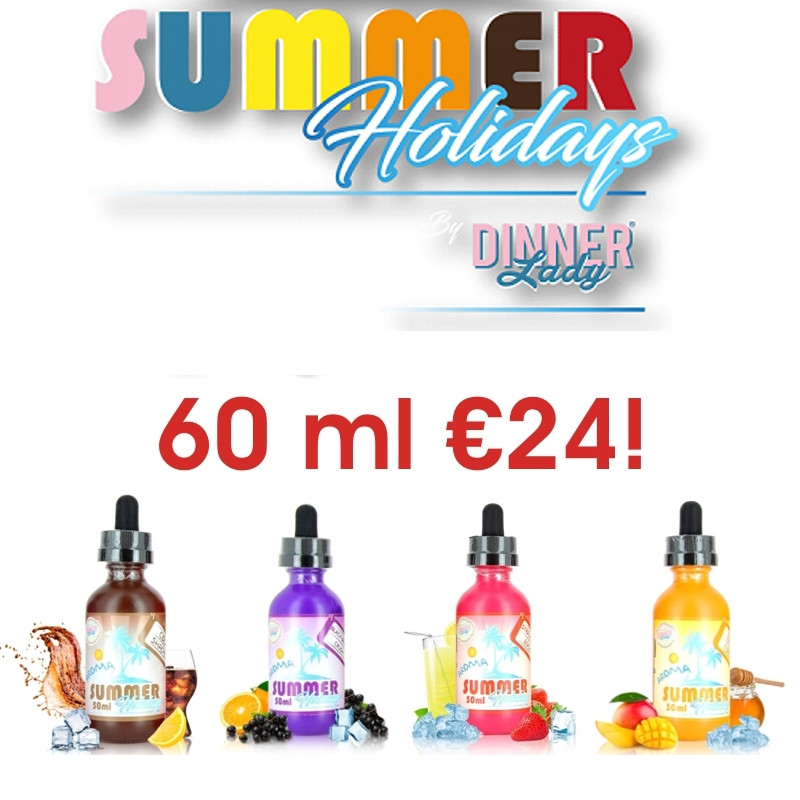 Summer Holidays is the latest series of eJuices from Dinner Lady eLiquids