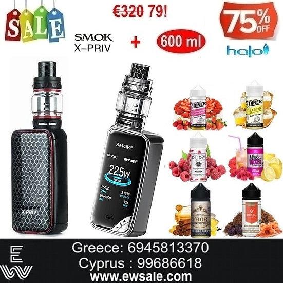 Smok X-Priv 225W TC Kit + TFV12 Prince + 600 ml Υγρά Αναπλήρωσης
