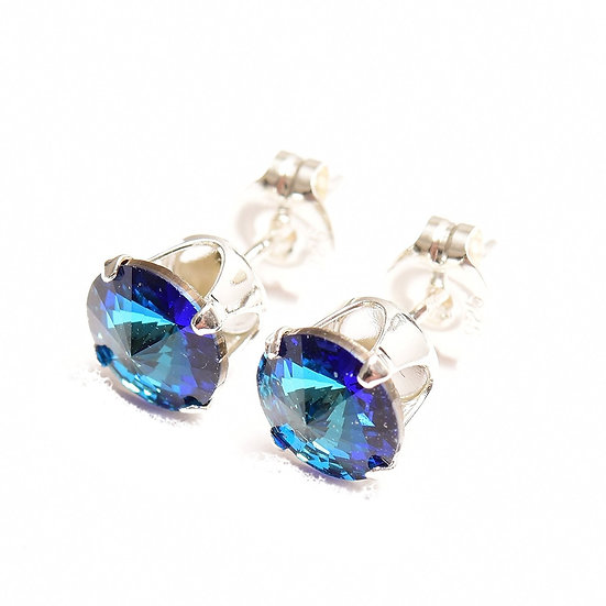 SWAROVSKI Bermuda Blue crystal, Sterling Silver stud earrings by Pewterhooter