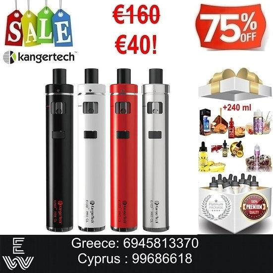 Kangertech Evod Pro CL Kit Ηλεκτρονικά Τσιγάρα + 240 ml Υγρά άτμισης