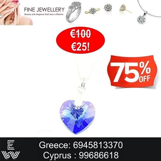 Κολιέ καρδιά Swarovski Sapphire Blue crystal heart 925 Silver