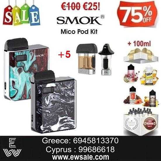 SMOK Mico Pod Kit Ηλεκτρονικά Τσιγάρα + 5 Pods + 100ml Υγρά άτμισης