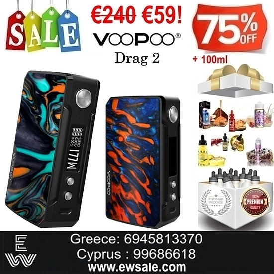 Voopoo Drag 2 177W TC Box MOD ηλεκτρονικού τσιγάρου + 100ml Υγρά άτμισης