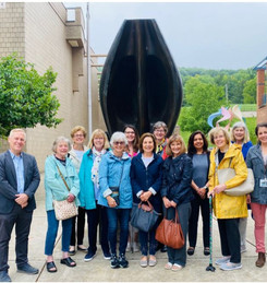Docents enjoy outdoor sculpture tour at Lehigh University led by Director William Crow and Curator of Education Stacie Brennan.