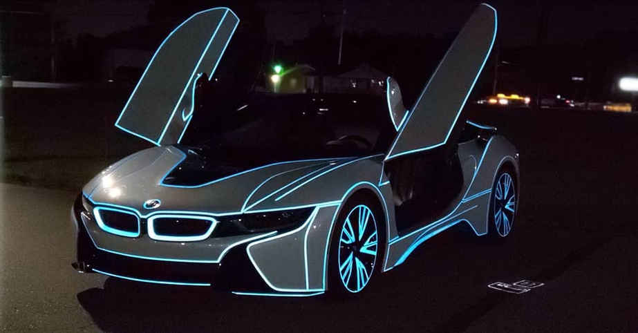 Cincy Vinyl Wraps I8 Tron Effect NIGHT (