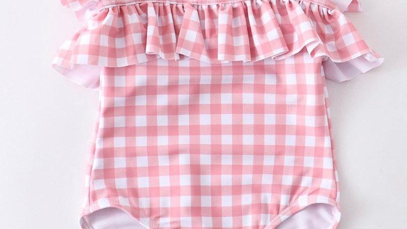 Pink Plaid Girls Swimsuit