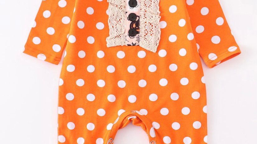 Orange Polka Dot Lace Baby Romper