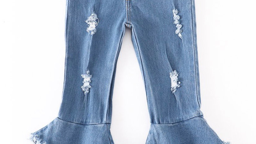Light Washed Double Layered Bell Jeans