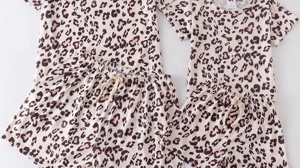 Children's Leopard Lounge Mommy & Me Shorts Set