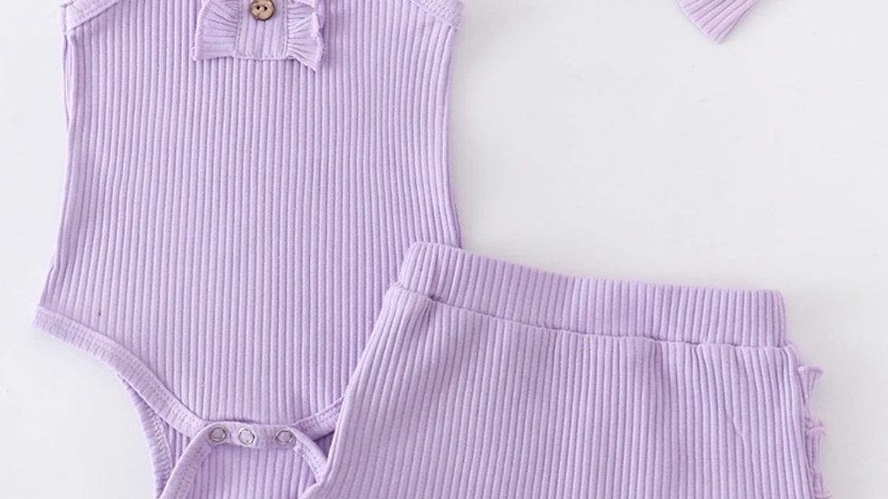 3 Piece Lavender Ruffle Baby Set