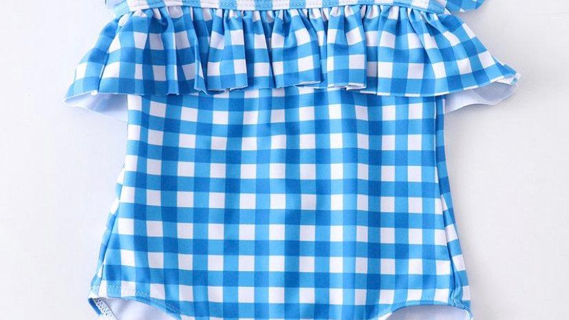 Blue Plaid Girls Swimsuit