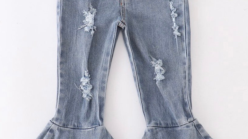 Light Washed Gray Double Layered Bell Jean