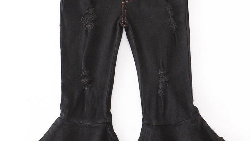 Black Double Layered Bell Jean