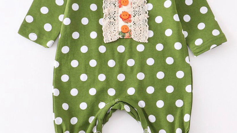 Green Polka Dot Lace Baby Romper