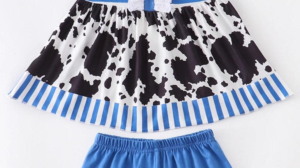 Blue Stripe Cow Print Short Set