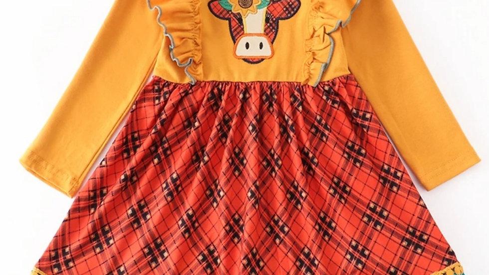 Mustard Cow Applique Ruffle Dress