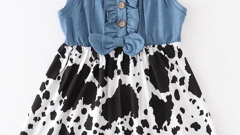 Cow Print Denim Button Down Dress