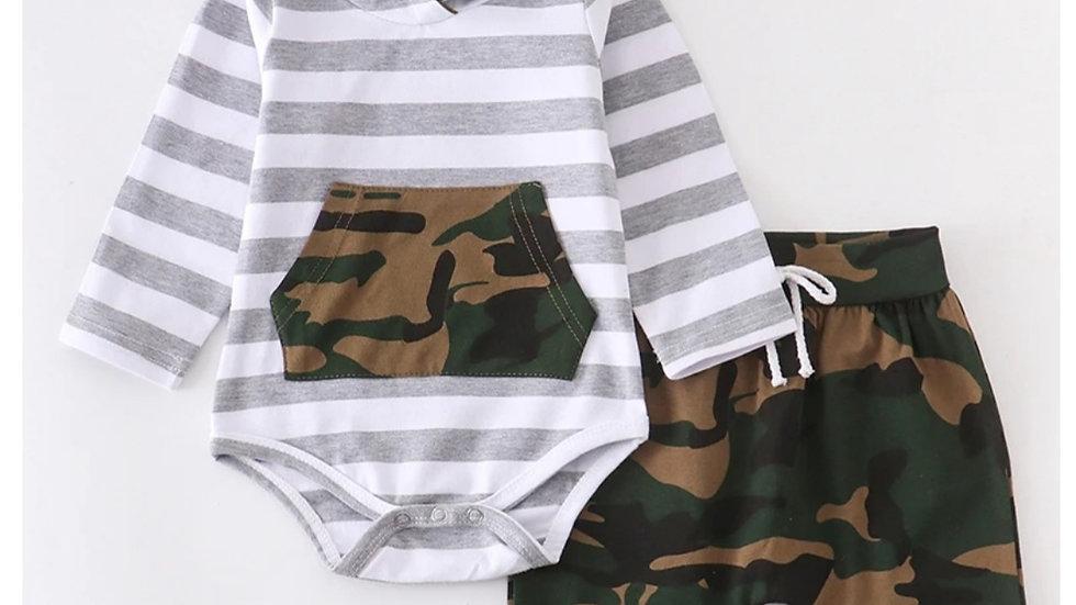 Camo Stripe Baby Hoodie Set