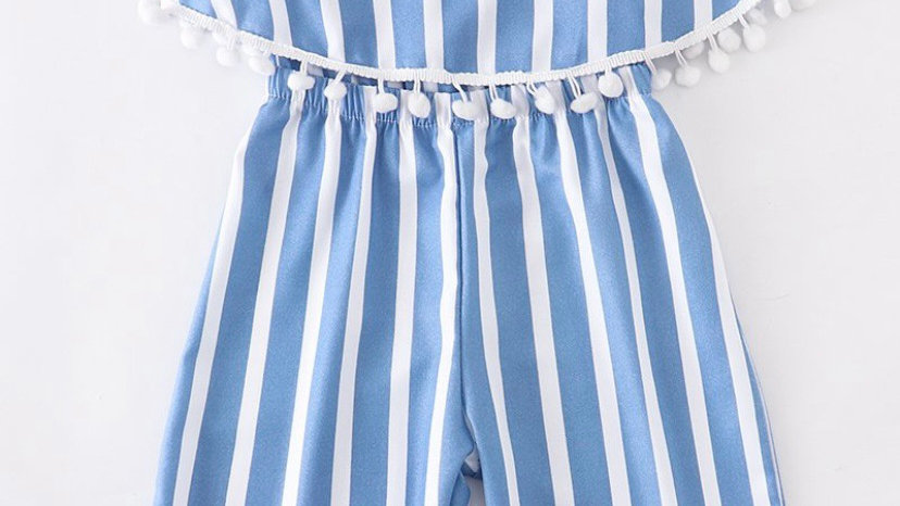 Blue And White Striped Romper