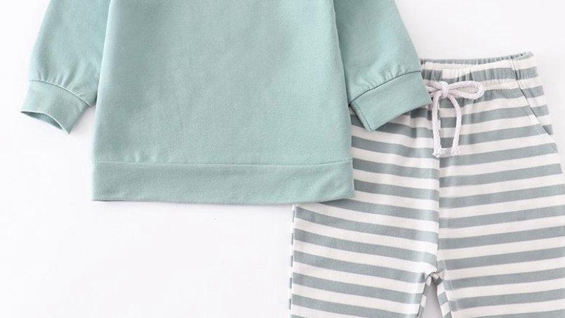 Mint Stripe Pants Set