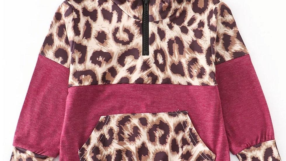 Maroon Leopard Half Zip Pull Over