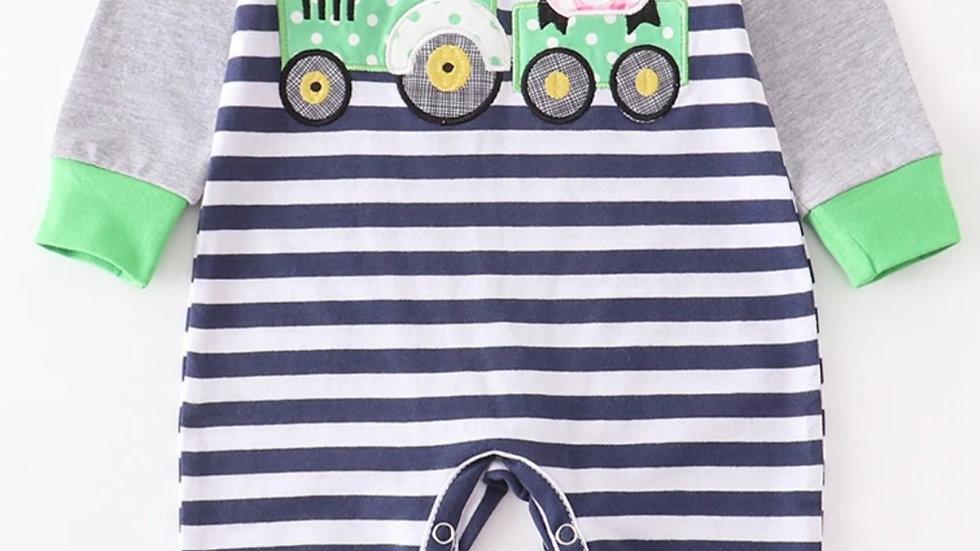 Stripe Tractor Applique Baby Romper