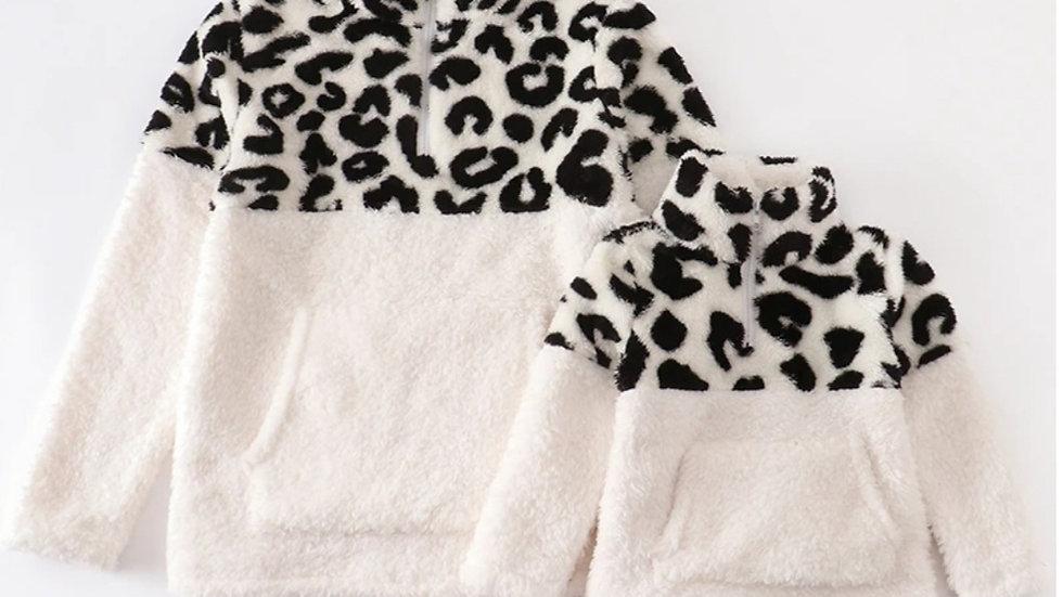 Adult Leopard Half Zip Mommy & Me Sherpa Jacket