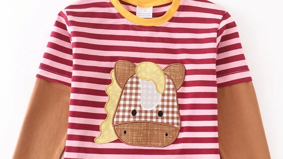 Stripe Horse Applique Shirt