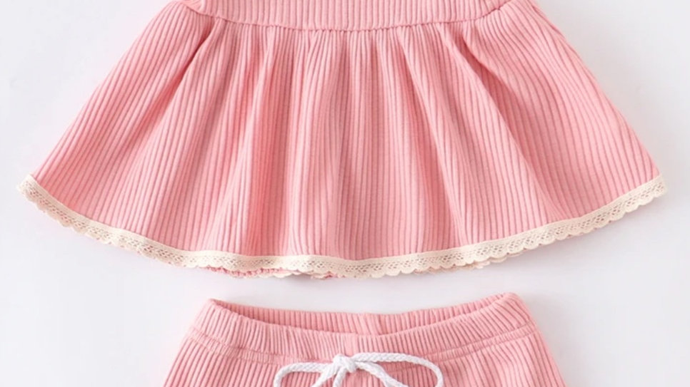 Pink Lace Baby Set