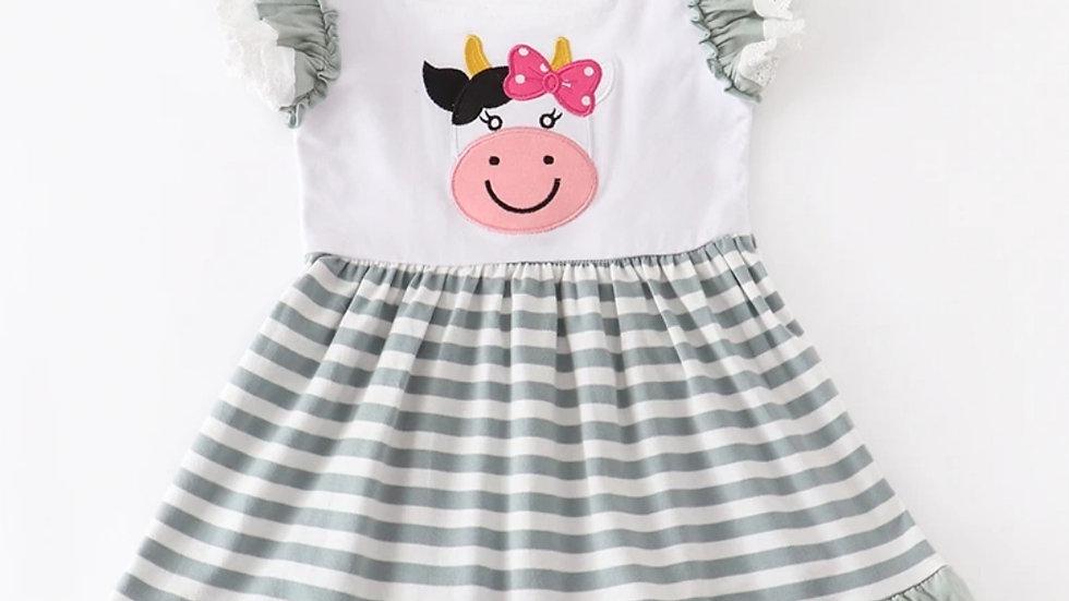 Cow Applique Green Stripe Dress